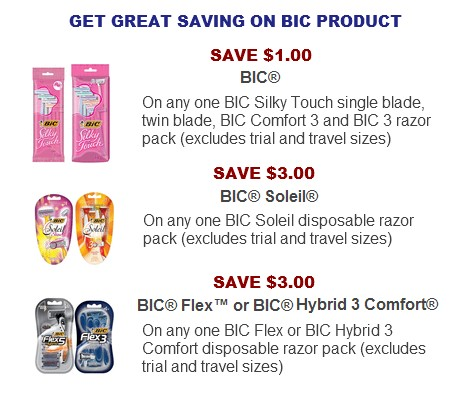 Bic razor coupons